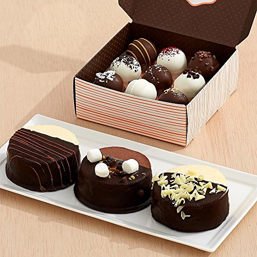 Shari's Berries - Dipped Cheesecake Trio & 9 Assorted Cake Truffles - 12 Count - Gourmet Baked Good Gifts