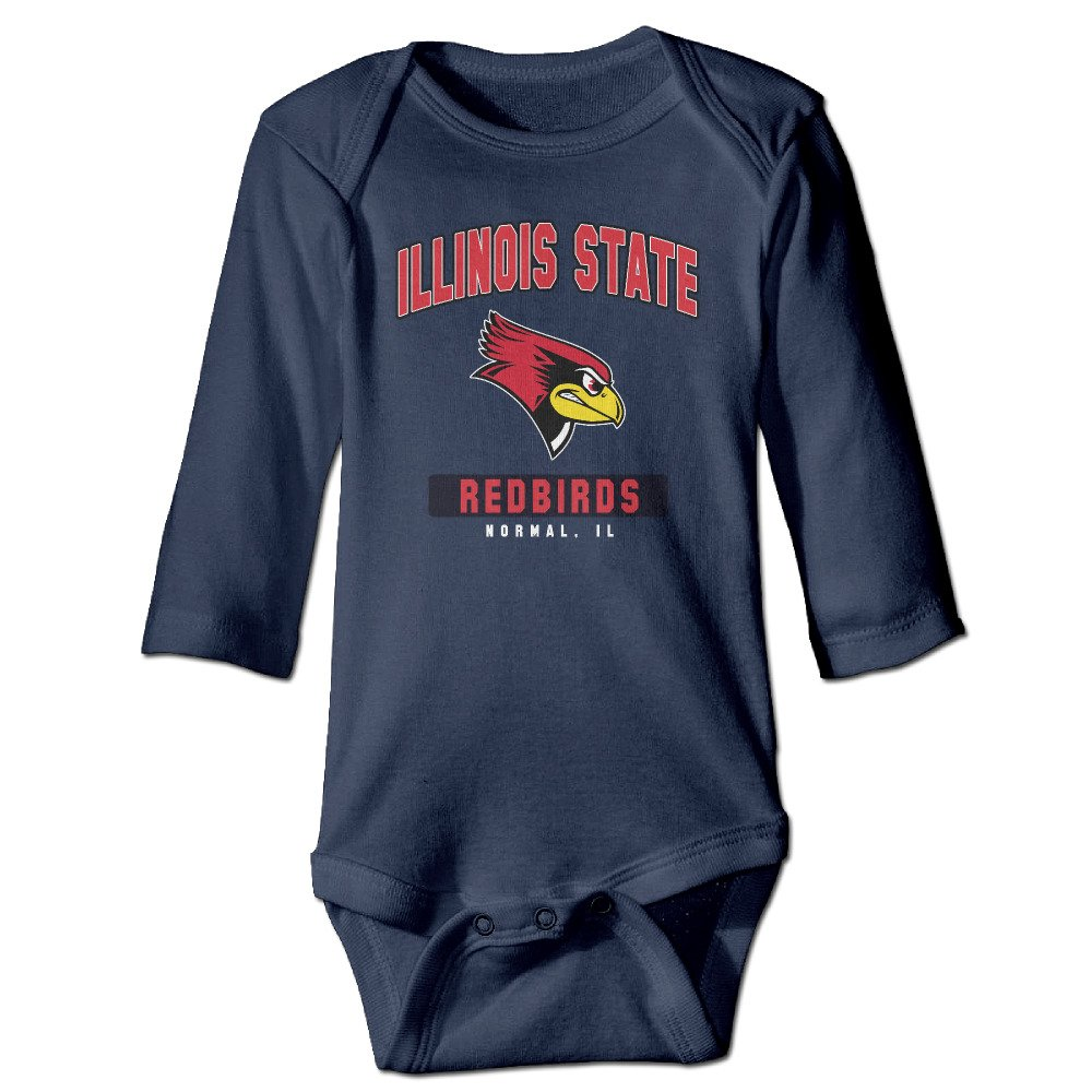 MXCNCBS Illinois State University ISU Redbirds Logo Kids Baby Long-Sleeve Jumpsuit Navy