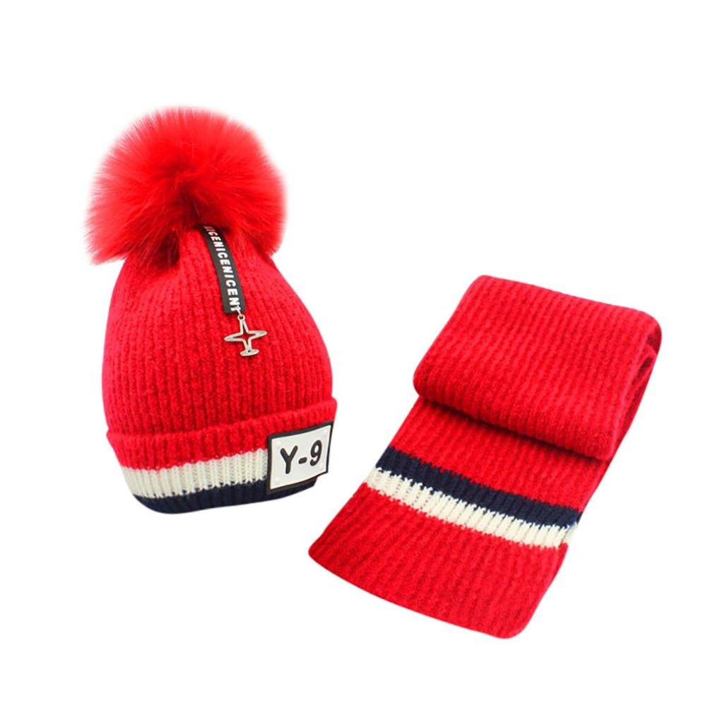 WYXlink Cute Baby Kids Girl Boy Balls Cap Warm Winter Knitted Cap Hat Scarf Sets Suit for 2-9 Years-Old Kids free size)