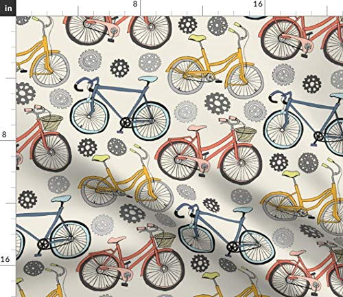 (Spoonflower Cycling Fabric - Cycling Bicycle Bike Wheels Home Decor Tangerinetane Cycling Cyclist Gears Tires Race Bicycle by Tangerine-Tane Printed on Petal Signature Cotton Fabric by The Yard)