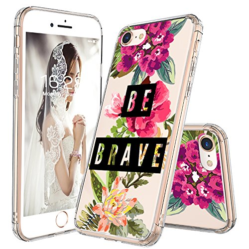 iPhone 8 Case, iPhone 7 Case for Women, MOSNOVO Cute Floral Flower Quote Clear Design Transparent Sleek Back Case and TPU Bumper Protective Cover for iPhone 7 (2016) / iPhone 8 (2017) - Be Brave