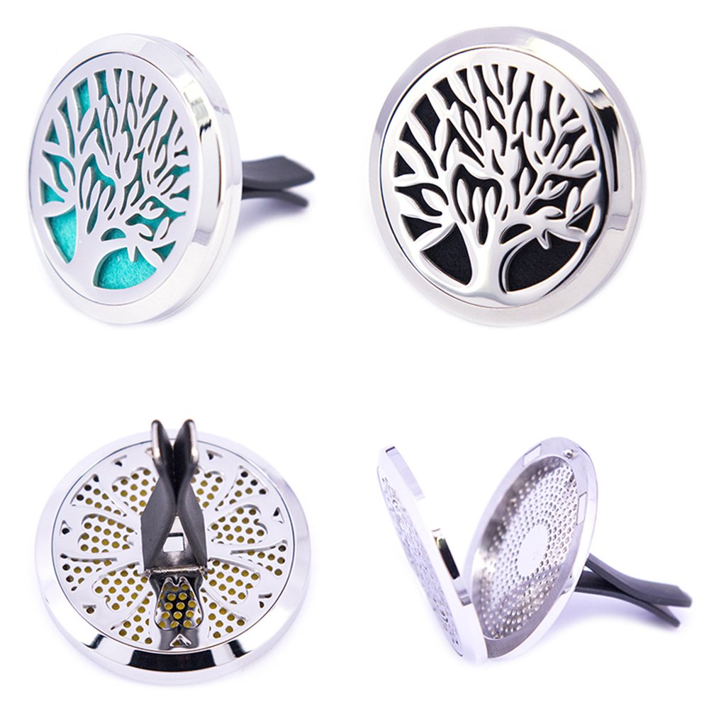 Mesinya Tree of Life(38mm) Air Freshener Diffuser Stainless Steel Car Aromatherapy Free Pads Essential Oil Car Diffuser Lockets MESINYAX-00106