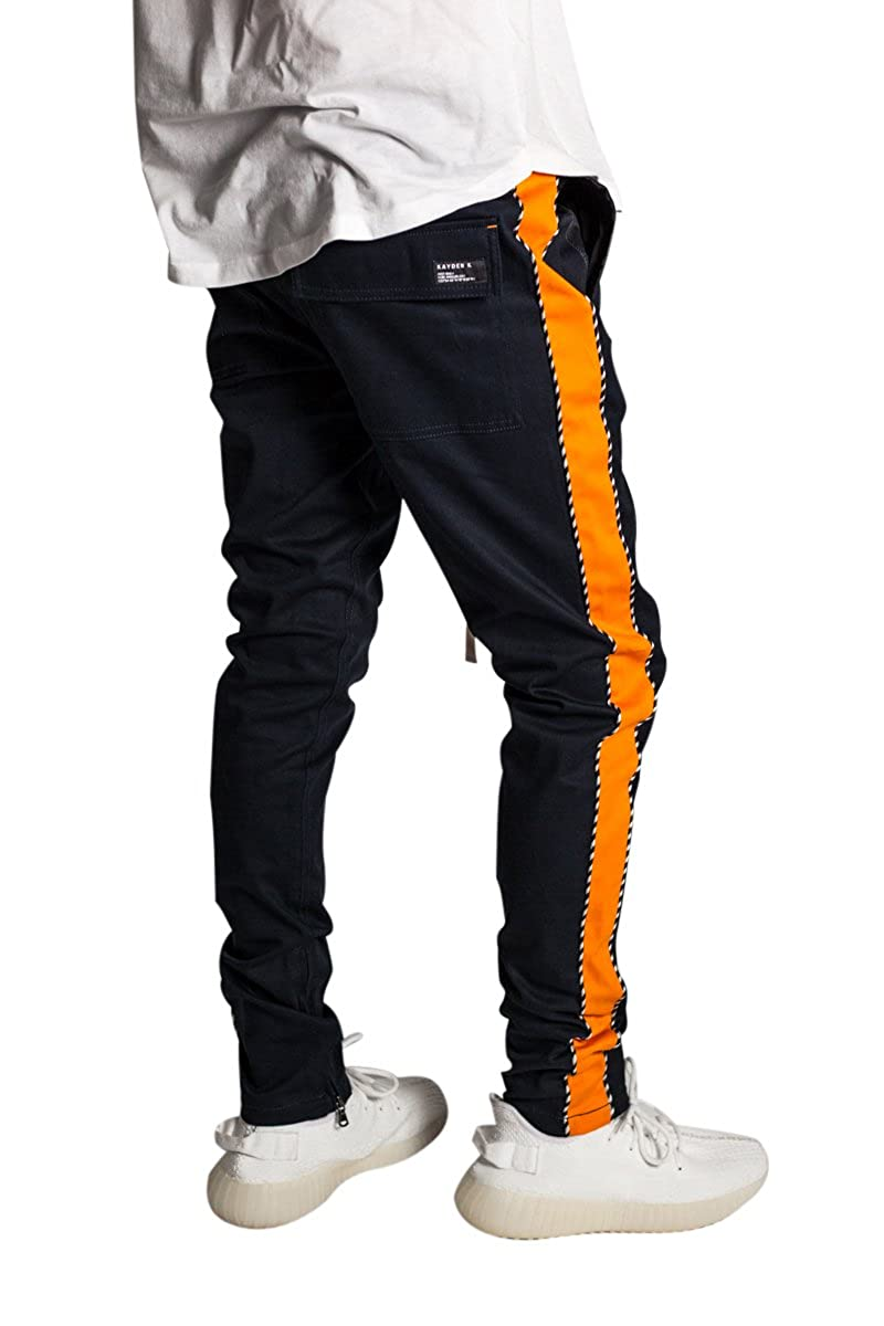 27633821 KDNK Men's Tapered Skinny Fit Stretch Drawstring Ankle Zip Striped Track  Pants