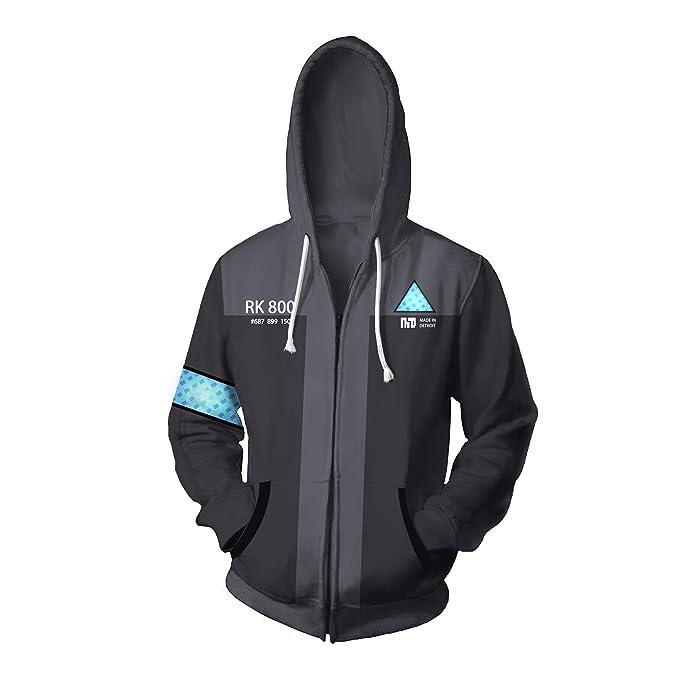 3D Hoodie Game Detroit Become Human Kara Cosplay Coat Sweatshirt ZIP Coat Black