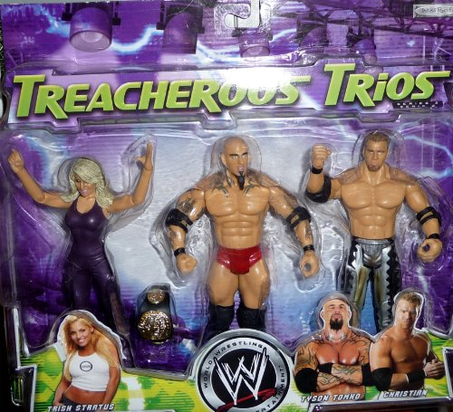 TRISH STRATUS, CHRISTIAN and TYSON TOMKO - WWE Wrestling Exclusive Treacherous Trios Series 2 Figures by Jakks]()
