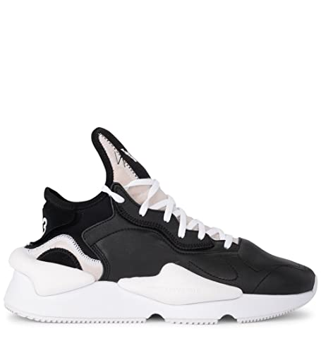 4980063a7d124 Y-3 Men s Y-3 Kaiwa Black and White Leather and Neoprene Sneaker 10 ...