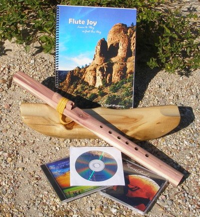 Key of A 6-Hole Unfinished Cedar Native American Style Flute, Book & 3 CDs Starter Set - Books and CDs