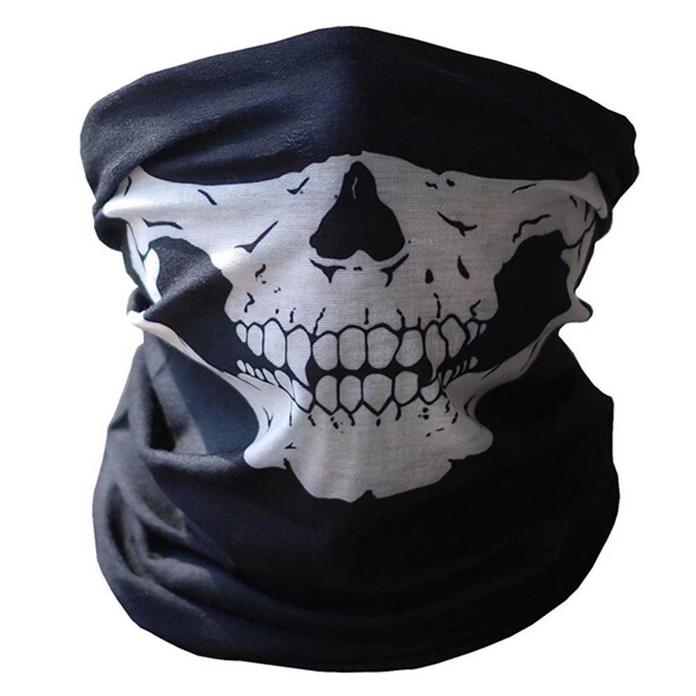 Skull Tubular Protective Dust Mask Bandana Motorcycle Polyester Scarf Face Neck Warmer for Snowboard Skiing Motorcycle Biking