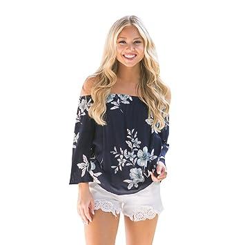 LMMVP–Blusa casual y suelta de cuello barco con estampado floral