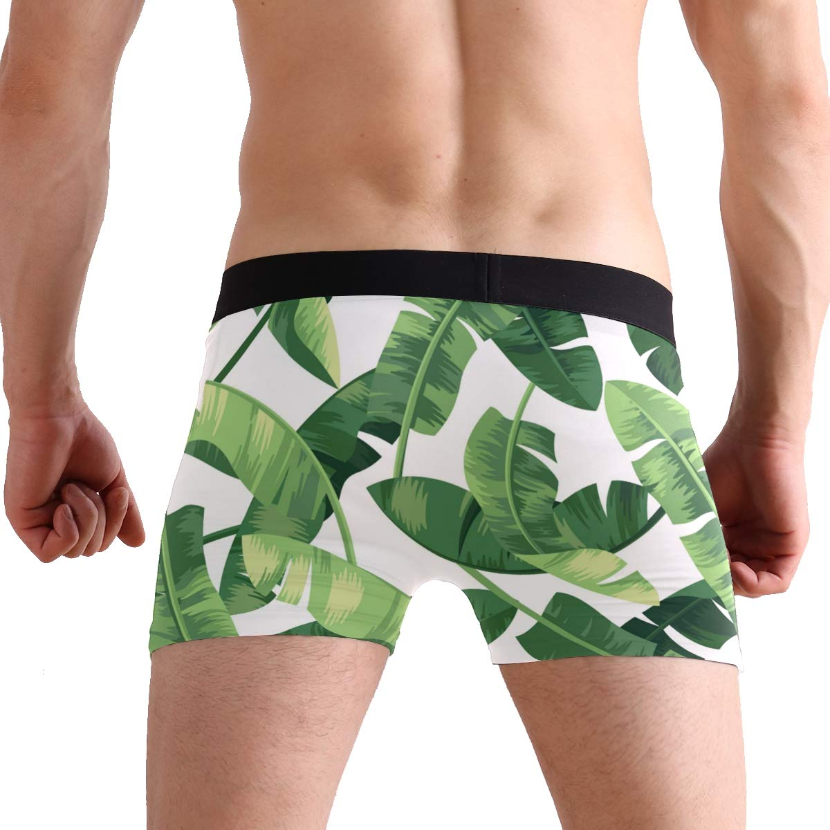 YYZZH Jungle Tropical Leaves Banana Leaf On White Mens Boxer Briefs Man Underwear