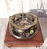 Large 8 Inch Perfectly Calibrated Big Sundial Compass with Rosewood Case Top Grade. C-3051