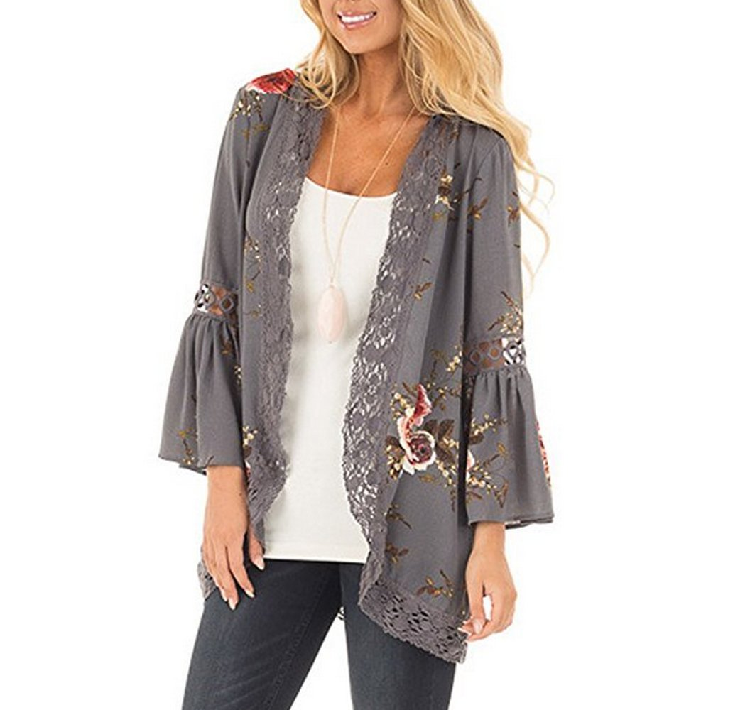 CURLBIUTY Womens Floral Loose Kimono Cardigan Lace Cover up Summer Blouse CU0001-2 2XL