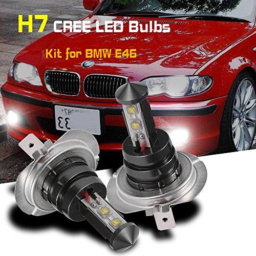 (H7 Daytime Running Light CREE LED Bulbs Kit for BMW E46 3 Series White (Pack of 2))