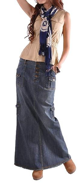 ddd11b721 Skirt BL Maxi Pencil Jean Falda de Cintura Alta, Faldas largas de ...