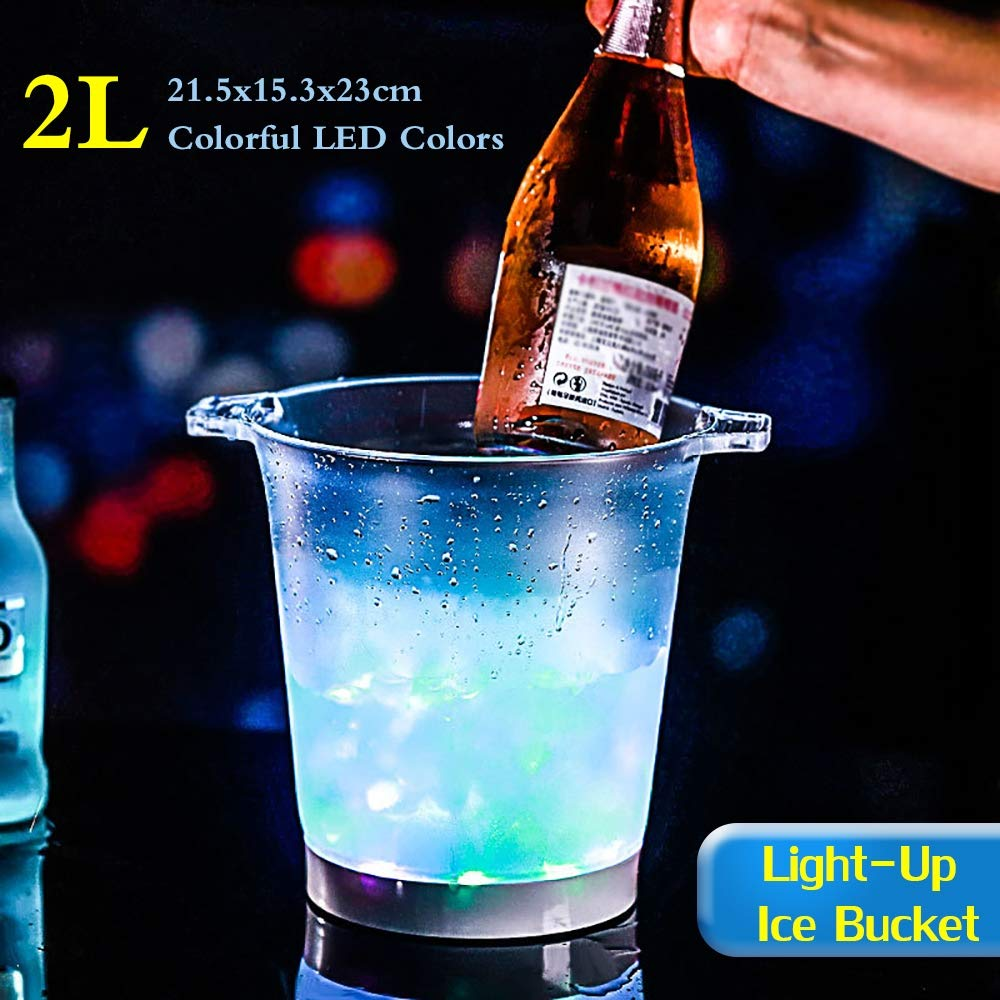 LED Ice Bucket Cooler Bucket 2 L Large Capacity Champagne Wine Drinks Beer Bucket for KTV Party Bar Home Wedding, Need 3 AAA Batteries (Not Include),7colors by YANGMAN-Wine