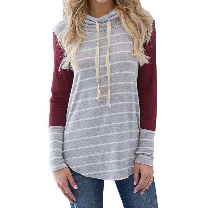 ADESHOP Sudadera con capucha para adolescentes, mujer, manga larga, casual, de rayas, con capucha, rojo vino, large: Amazon.es: Hogar