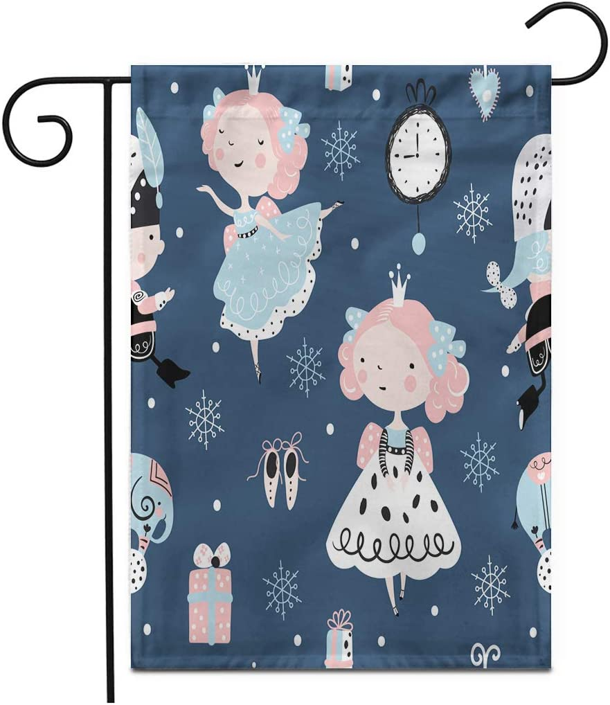 """Adowyee 12""""x 18"""" Garden Flag Seamless Childish Pattern with Nutcracker Girl and Ballerina Christmas Holiday for Outdoor Double Sided Decorative House Yard Flags"""