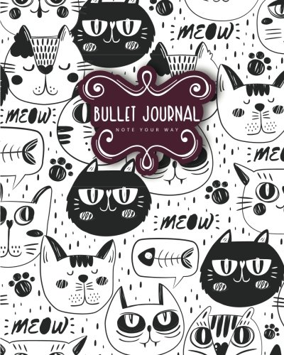 """Read Online Bullet Journal Dot Grid for 90 Days, Numbered pages quarterly journal diary, Meow Cat Doodles Black and White Notebook: Large bullet journal 8x10"""" with 150 dot grid pages with number pdf"""