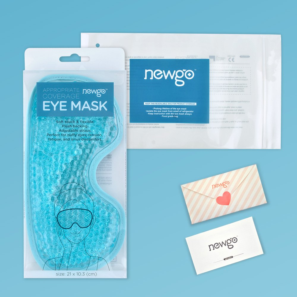 NEWGOCold Eye Mask for Puffy Eyes Reusable Cooling Eye Mask with Gel Bead for Hot Cold Therapy