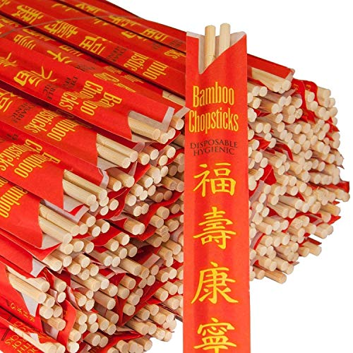 RG RG100 Paper Premium Disposable Bamboo Chopsticks Sleeved and Seperated (100)