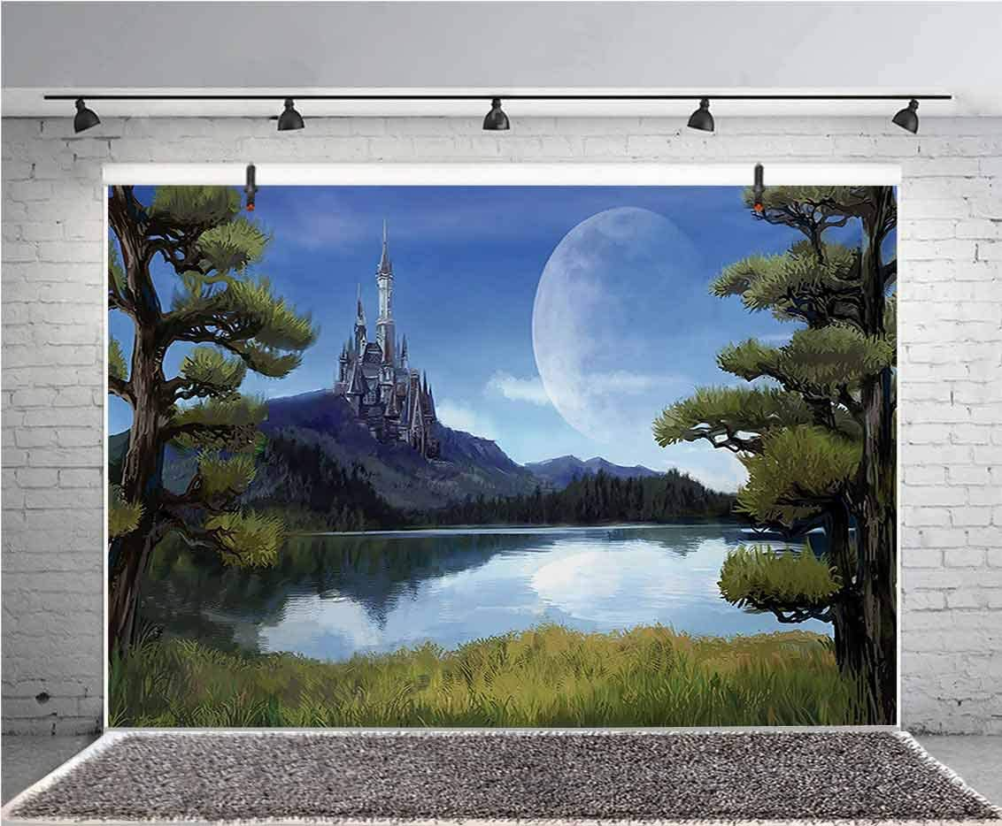 Fantasy 12x10 FT Vinyl Photography Backdrop,Moon Surreal Scene with Riverside Lake Forest and Medieval Castle on Hill Art Background for Photo Backdrop Baby Newborn Photo Studio Props