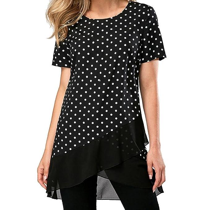 Camisetas Mujer Verano AIMEE7 Blusas para Mujer Verano Elegantes Blusas Manga Corta Asimetrica para Mujer Camisas