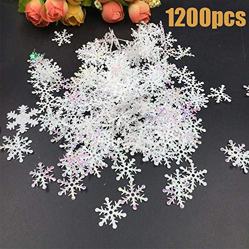 1200pcs Winter Wonderland White Snowflake Decorations - Snowflake Confetti Christmas Decorations/Xmas/Holiday/Birthday Party -