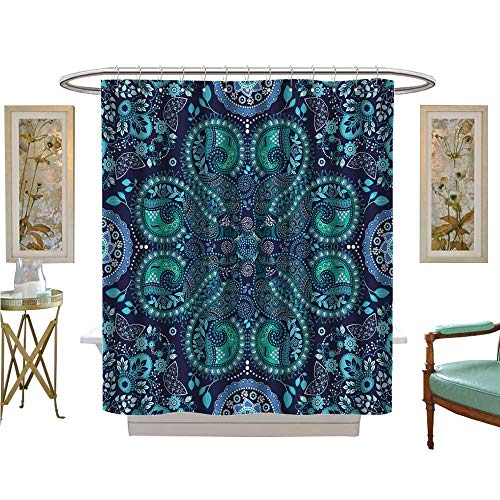 (luvoluxhome Shower Curtain Collection by Blue Indian Fantasy Ornamental Wallpaper Satin Fabric Sets Bathroom W69 x L84)
