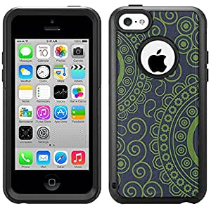 Skin Decal for Otterbox Commuter iPhone 5C Case - Paisley Circles Green on Navy