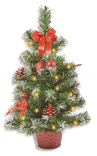 Weihnachtsbaum Rot.Riffelmacher Geschmückter Weihnachtsbaum Beleuchtet 50cm 20259 Rot Weihnachtsbaum Mit Lichterkette Schleifen Christbaumkugeln