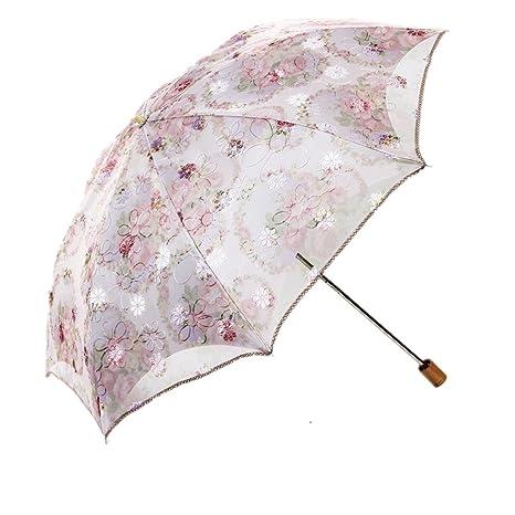 Plegable Paraguas sombrilla de encaje de Sol Anti UV UPF > 50 Compacta y Resistente con