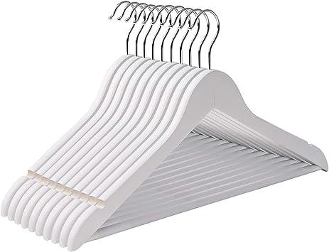 60 X en bois blanc Cintres costume vêtements Chiffon Wood Hanger Trouser Bar