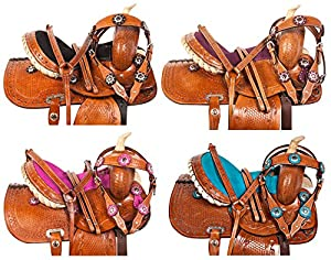 "10"" 12"" 13"" Blue Pink Purple Black Crystal Leather Hand Tooled Barrel Pleasure Trail Show Western Pony Youth Kids Pony Horse Saddle Tack Bridle Breast Collar"
