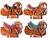 "10"" 12"" 13"" YOUTH KIDS HAND CARVED PONY CRYSTAL BLNG SHOW BARREL RACING RODEO PLEASURE TRAIL WESTERN LEATHER CHILDREN PONY SADDLE TACK SET"