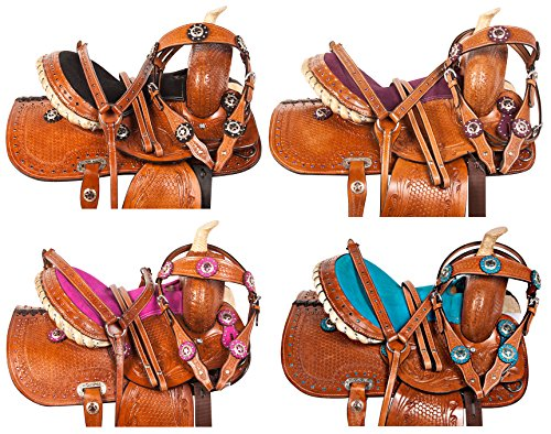 "Show Youth Saddle (10"" 12"" 13"" BLUE PINK PURPLE BLACK CRYSTAL LEATHER HAND TOOLED BARREL PLEASURE TRAIL SHOW WESTERN PONY YOUTH KIDS PONY HORSE SADDLE TACK BRIDLE BREAST COLLAR (Black, 13))"