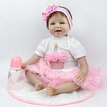 22Zoll 55cm Realistische Rebornpuppen Kleinkind Silikon Jungen Mädchen Spielzeu