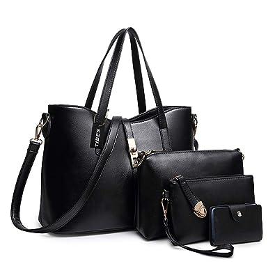 5f2e3882ad73 TIBES Fashion Women's PU Leather Handbag+Shoulder Bag+Purse+Card Holder  4pcs Set Tote