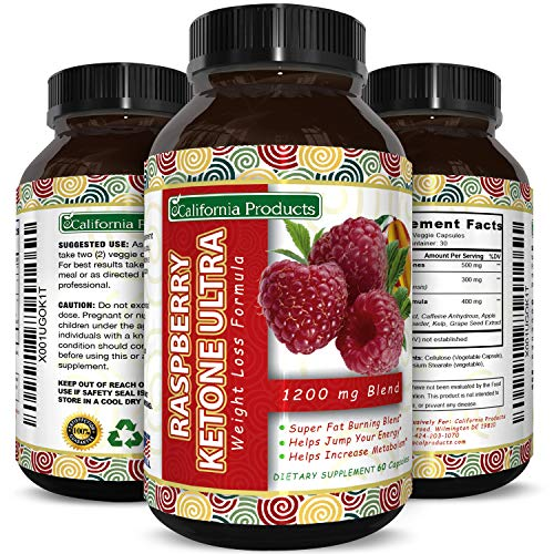 California Products Pure Raspberry Ketones Supplement Natural Fat Burner and Appetite Suppressant Boosts Metabolism and Reduces Belly Fat Fast Weight Loss Product for Men and Women 60 Capsules For Sale