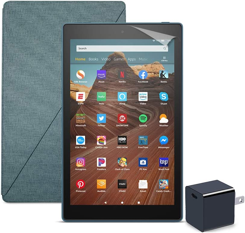 Fire HD 10 Tablet (32 GB, Twilight Blue, With Special Offers) + Amazon Standing Case (Twilight Blue) + Nupro Screen Protector (2-pack) + 15W USB-C Charger