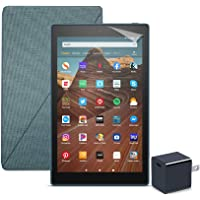 Fire HD 10 Tablet (64 GB, Twilight Blue, With Special Offers) + Amazon Standing Case (Twilight Blue) + Nupro Screen Protector (2-pack) + 15W USB-C Charger