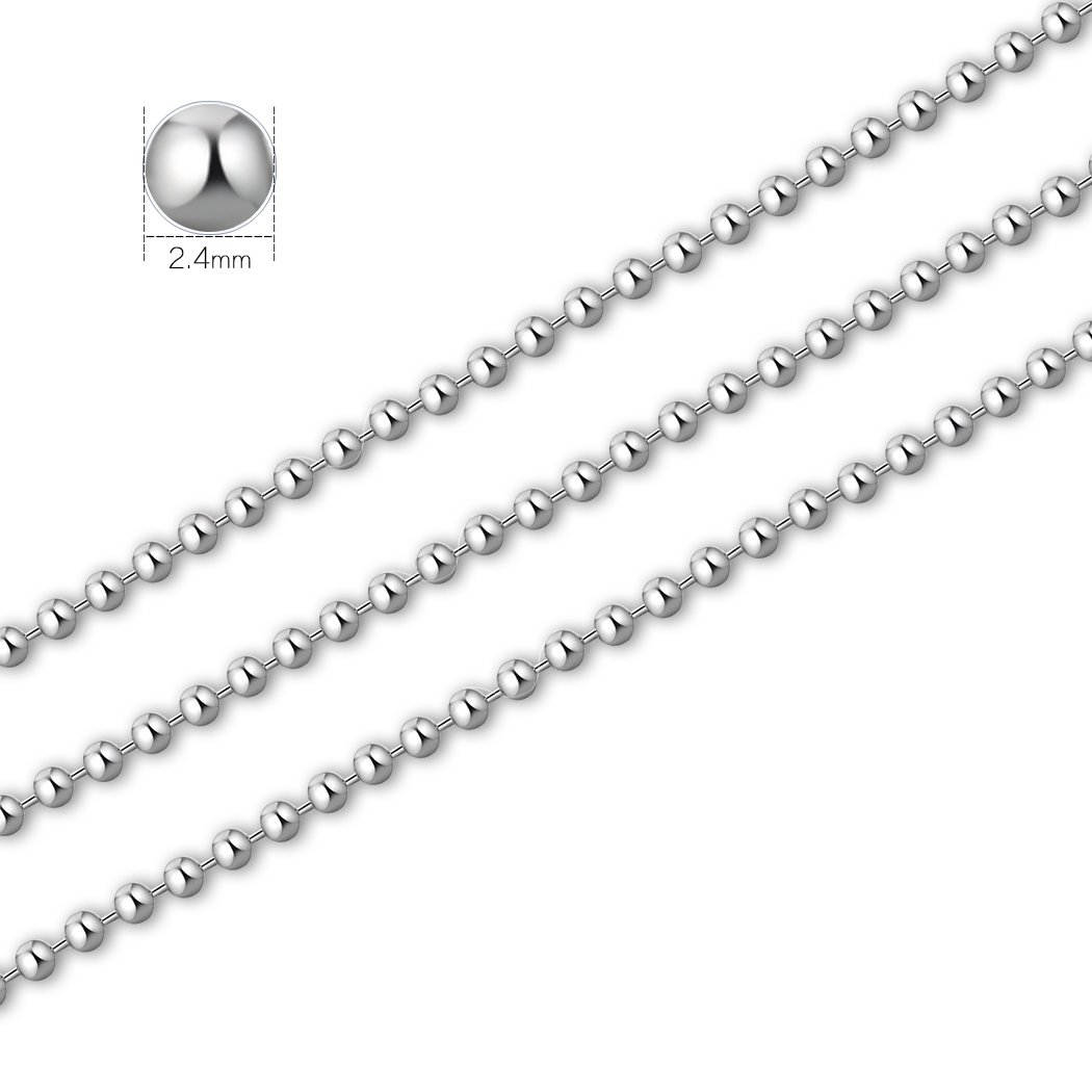 SUMERSHA 24 inches 100pcs Ball Bead Chain 2.4mm Nickel Plated Ball Chain Necklace Bead Adjustable Metal Pull Chain Extension Beaded Chain with 100pcs Extra Matching Connector Jewelry Findings