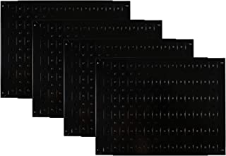 product image for Pegboard Wall Organizer Tiles - Wall Control Modular Black Metal Pegboard Tiling Set - Four 12-Inch Tall x 16-Inch Wide Peg Board Panel Wall Storage Tiles - Easy to Install (Black)