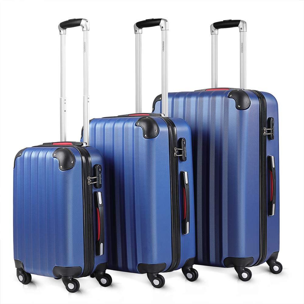 Monzana Juego de 3 Maletas Azules con Mango telescópico y Asas de Transporte con Ruedas y candado electrónico con código
