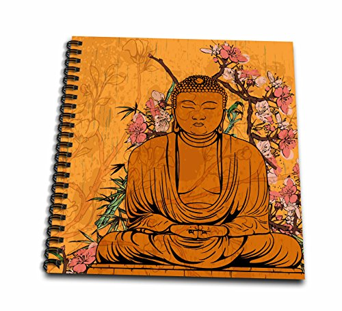 3dRose db_116366_1 Buddha Statue with Lovely Pink Japanese Sakura Blossom Flowers Asian Inspired Gifts-Drawing Book, 8 by 8-Inch