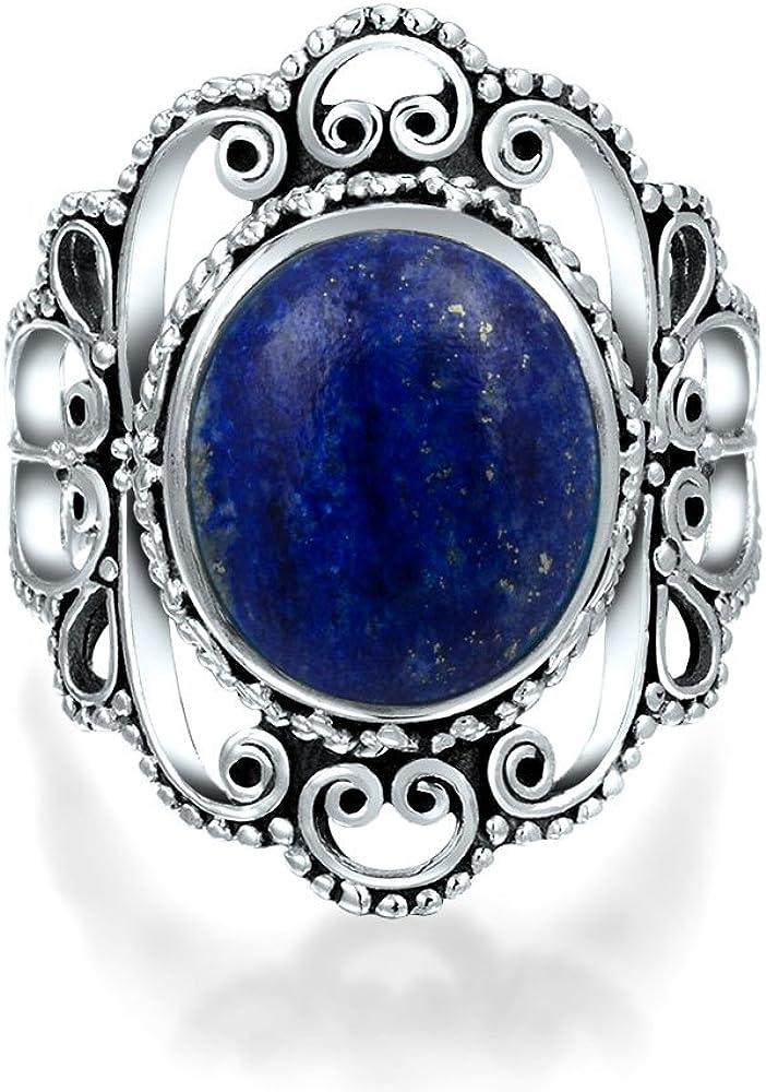 Bali Style shipfree Super popular specialty store Filigree Round Boho Blue Lazuli Gemst Statement Lapis