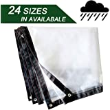 Color : Clear, Size : 2x3m 23 Sizes Lefran Glass Clear Tarpaulin Waterproof Heavy Duty Rain Cover Metal Ring Eyelet with Rope Outdoor Balcony Dustproof Support Customization