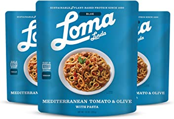 Loma Linda Blue - Vegan Complete Meal Solution - Heat & Eat Mediterranean Tomato & Olive (10 oz.) (Pack of 3) - Non-GMO