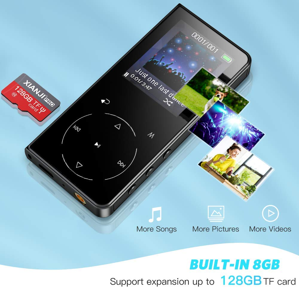 Reproductor MP3 Bluetooth 4.1 AGPTEK HIFI 16GB Reproductor de M/úsica de 2.4 Grande Pantalla con Bot/ón T/áctil MP3 Player con Altavoz Incorporado FM Radio,Video,Grabadora de Voz,Case Protectora,T01S