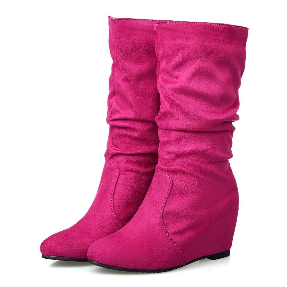 Frauen Plissee Plissee Plissee Wedges Stiefel Winter Flock Stoff Slip-On High Heel Damen Kalb Stiefel Schuhe 711eb4