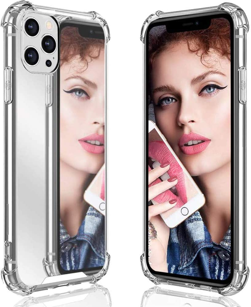 """Ownest Compatible with iPhone 12 Case,12 Pro Case (6.1 Inch) for Girls Women Cute Stylish with Glitter Ultra-Thin Mirror TPU PC Back Protective Slim Shockproof Case for iPhone 12/12 Pro 6.1"""""""
